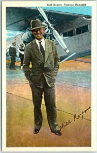 Vintage WILL ROGERS Postcard Famous Humorist Standing Next to Airplane c1940s