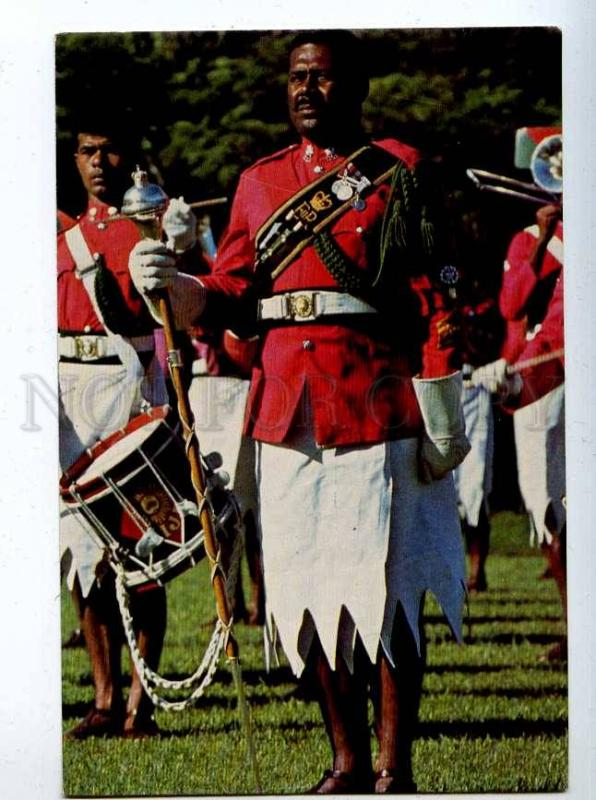 206409 FIJI Military Forces Band Vintage photo postcard