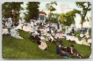Cedar Rapids Iowa~Bever Park~Victorian Sunday Crowd On Hillside~Gazebo~1908