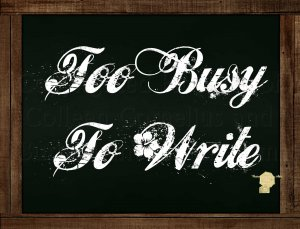 Set of 6  Postcards Blackboard Greetings - Too Busy To Write - Simple Expression