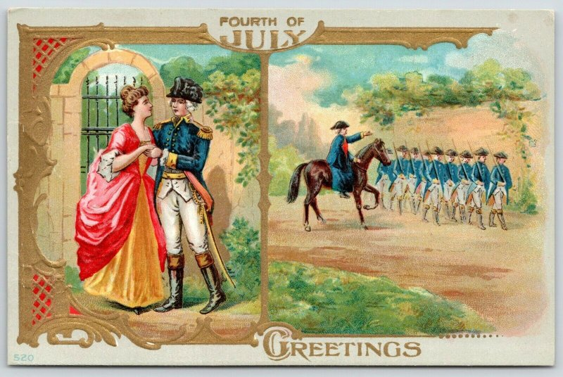 Patriotic~July 4th~Revolutionary War~Washington Leaves Martha~Gold Art Nouveau