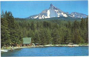 Boat House & Docks, Diamond Lake, Mt. Thielsen, Oregon, OR, Chrome