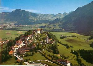 Gruyeres et son chateau Hotel Castle Aerial View mountain top  Postcard  # 8670