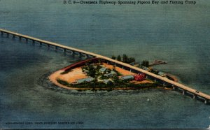 Florida Keys Overseas Highway Spanning Pigeon Key and Fishing Camp 1957 Curteich
