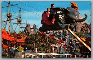 Postcard Anaheim CA c1960s Disneyland Dumbo Fantasyland Magic Kingdom