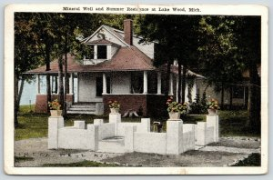 Lake Wood MI~Planters in Concrete Garden~Mineral Well & Summer Residence~1916