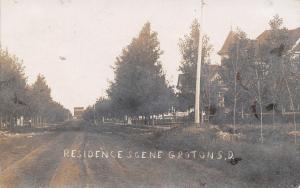 Groton South Dakota~Homes Along Dirt Road~Girl~Grain Elevator at End~1908 RPPC