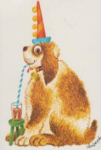 Dog Dogs Getting Drunk Clown Party Hat Collar French Cute Animal Comic Postcard