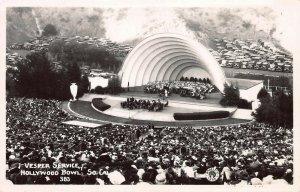 Hollywood Bowl, Los Angeles, CA, Early Real Photo Postcard, Unused