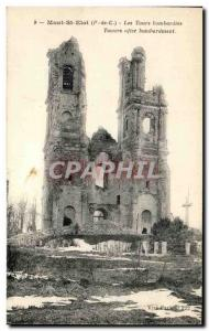 Old Postcard Mont St Eloi Tours bombed Army