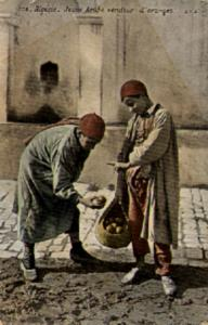 1910 Algerian PC Showing a Boy Selling Oranges from a Sack on the Street
