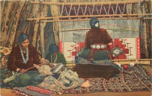 American Native a scene how Navajo rugs are made indians home Hogan weaving