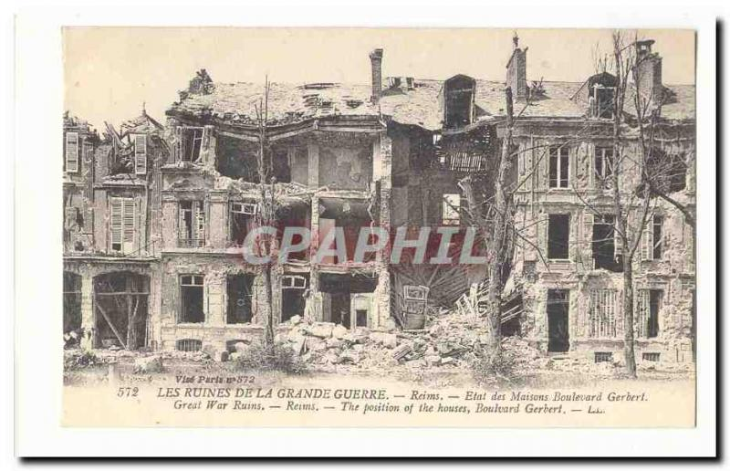 Ruins of the large war Rheims Vintage Postcard State of the