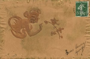 PC CPA KIRCHNER ARTIST SIGN FAIRY WITH FLOWER AND BIRD ART NOUVEAU G-1 (b2179)