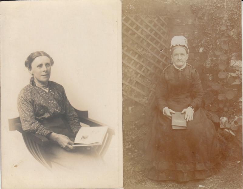 Old women with books early photo postcards x 2