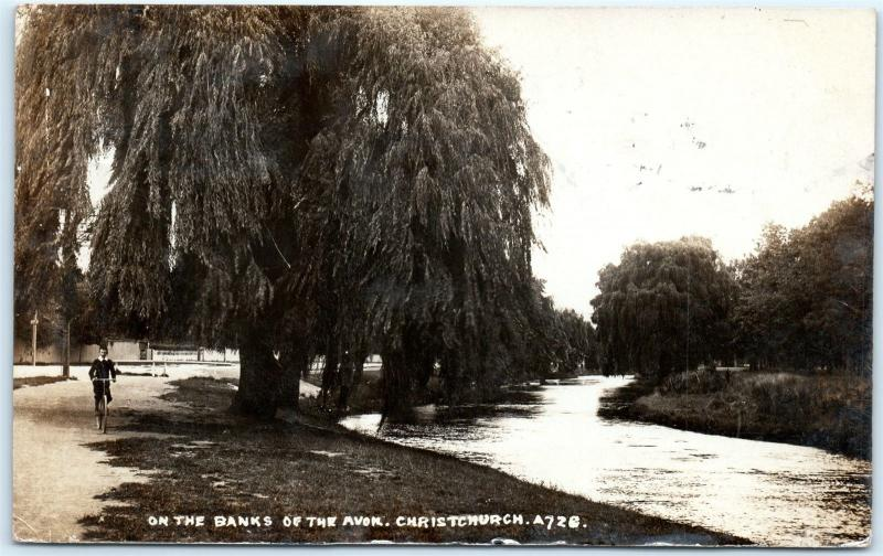 Postcard New Zealand Christchurch On The Banks of the Avon 1912 RPPC Photo G17