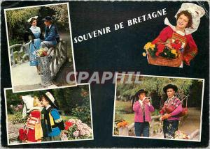 Postcard Modern Brittany Lorient costumes Fouesnant Scaer Quimperle and Ploug...