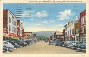 Middlesboro KY~Cumberland Avenue~Scott Stores~1930-40s Cars~Linen Postcard