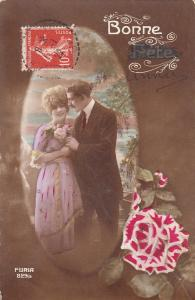 Lovely couple early greetings postcard