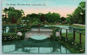 Jacksonville Florida~Riverside Park Bridge~Flowers Adorn Path & Rails~1910 PC