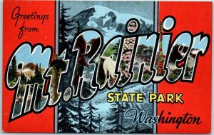 Greetings from MT. RAINIER State Park Wash. Large Letter Postcard KROPP Linen