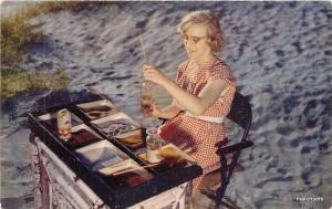 1950s Sand Designing Freeport Maine Roberts Portland postcard 10334