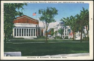 University Minnesota Minneapolis MN Postcard Cyrus Northrup Memorial Auditorium