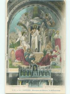 Old Religious Postcard JESUS AT RESURRECTION IN LOURDES FRANCE AC3238