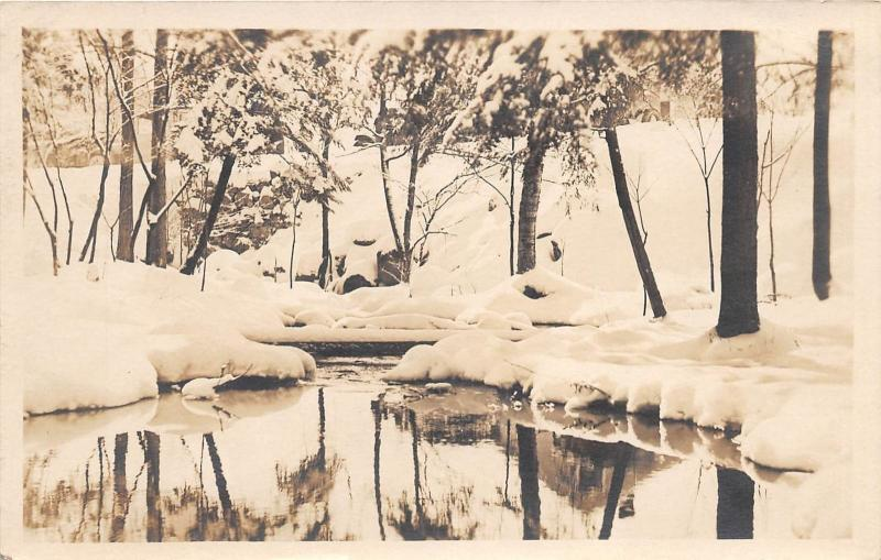 LAKE PLACID NY WINTER SCENE REAL PHOTO POSTCARD c1927 POSTED LAKE PLACID CLUB