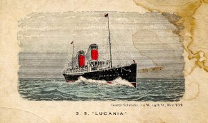 Cunard Lines - SS Lucania     (stains)