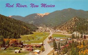 Red River New Mexico~Birdseye Homes & Highway~Town Panorama~1966 Postcard