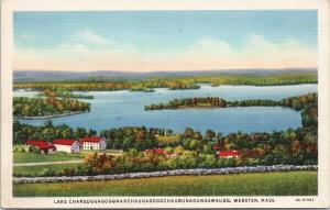 Lake Chargoggagoggmanch... Webster MA Unused Linen Postcard F1