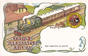 Taw Train Arrives At Lynton & Barnstaple Railway Poster Postcard
