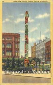 Pioneer Square, Seattle Washington, USA Totem Pole Postcard Post Card Old Vin...