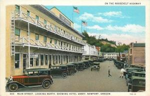 Newport Oregon~Main Street~Hotel Abbey~Ester Martin Real Estate~Restaurant~1930