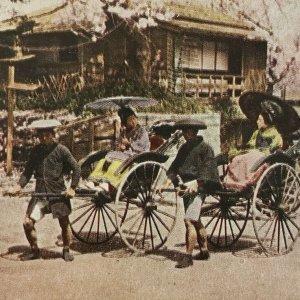 Japonés Mujer Jinrikishas Jinirikisha Yokohama Japón Rickshaw Asiática