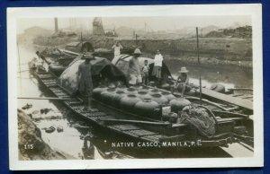 Native Casco Manila Philippine Islands Real Photo Postcard RPPC.