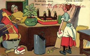 Artist Signed Tom Brown, Spring Cleaning (1908)