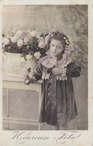 RP: HAPPY HOLIDAY, Heureuse Fete, Little Girl w/pink ribbons, Roses, PU-1908