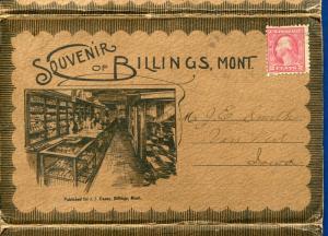 Billings Montana mt Russell Mill Union Depot Fire Department Postcard Folder