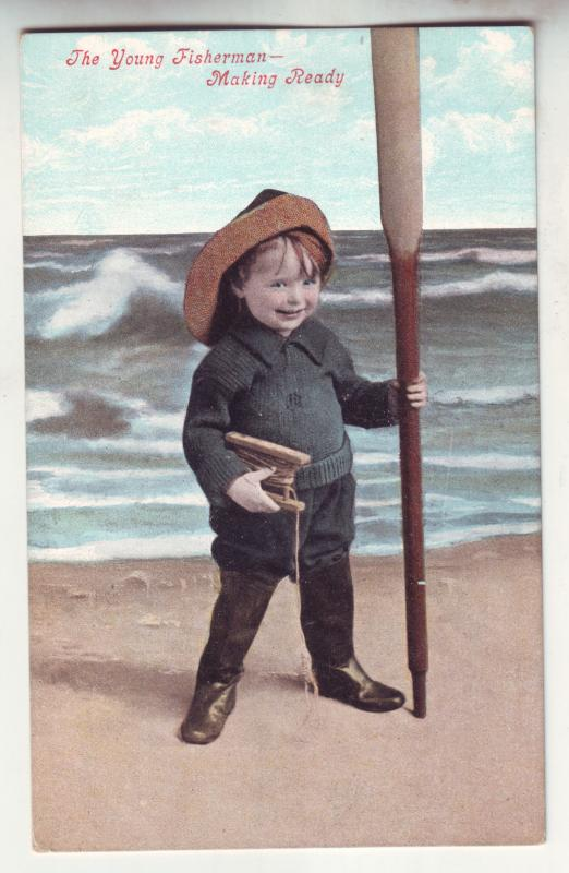 P806 old card the little young fisherman-making ready