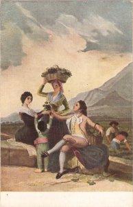 GOYA.  La vendimia. Vine garvesting  Fine painting, vintage spanish postcard