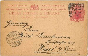 Entier Postal Stationery 1p Finsbury Park in 1900 for Wesel