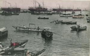 Ceylon Postcard Colombo Harbor small boats steam ships
