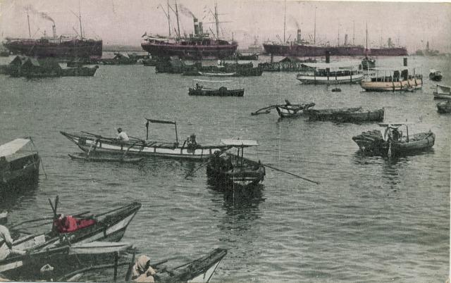 Ceylon Postcard Colombo Harbor small boats steam ships