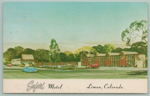 Limon Colorado~Safari Motel~Artist Conception~Cars~Postcard~1950s