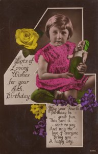 Toy Doll with Gnome Type Green Elf Hat 4th Birthday RPC Postcard