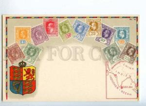 231950 CEYLON Coat of arms STAMPS Vintage Zieher postcard