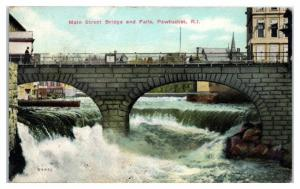 1910 Main Street Bridge and Falls, Pawtucket, RI Postcard