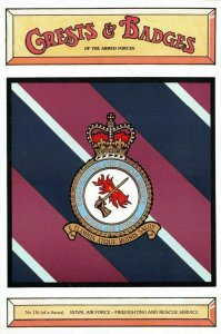 Postcard RAF Royal Air Force Firefighting and Rescue Service Crest Badge No.116